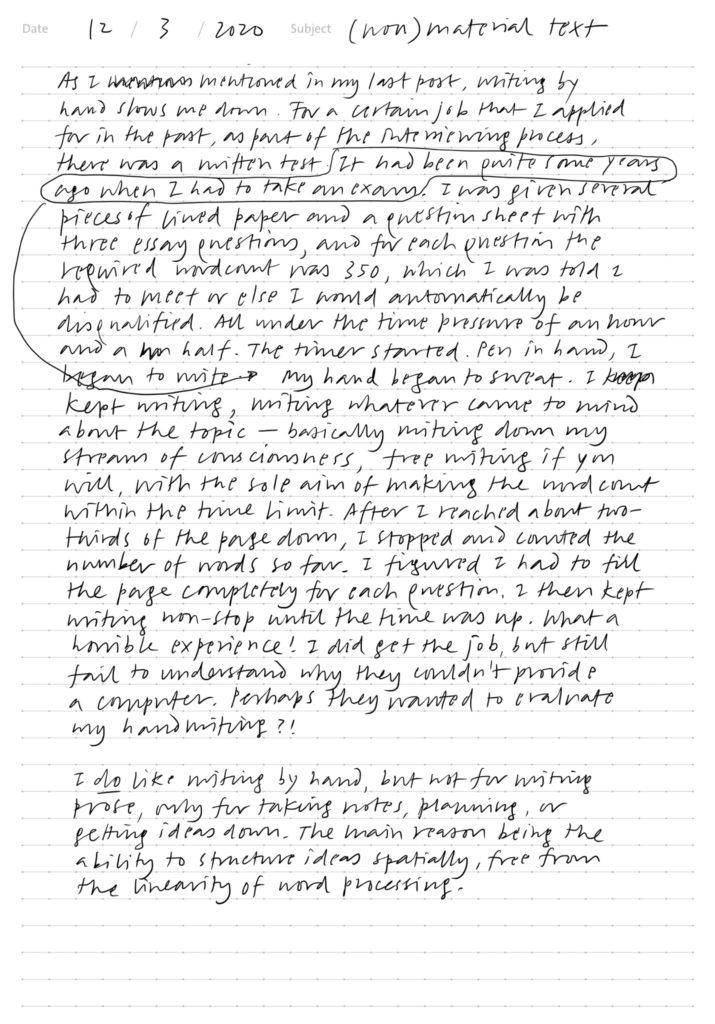 A page of handwritten text written on an iPad