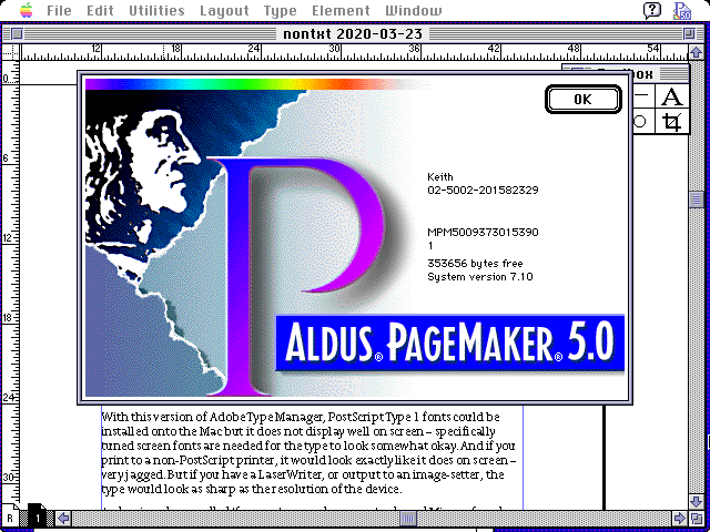Screenshots of Aldus PageMaker 5.0 running in a Mac II emulator