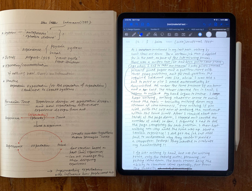 An opened notebook side by side with an iPad Pro with the Goodnotes app opened