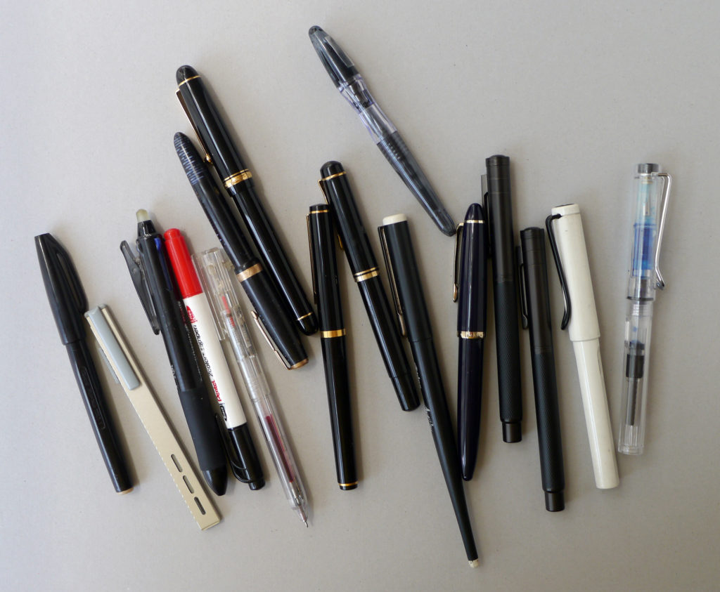 A whole bunch of different pens